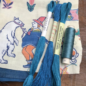 Blue linen, cotton & silk set #6