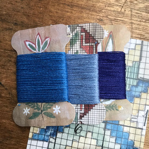 Blue linen thread card set