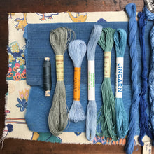Load image into Gallery viewer, Blue linen, cotton & silk set #4