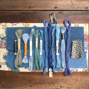 Blue linen, cotton & silk set #4
