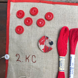 Red linen, cotton & silk set #2