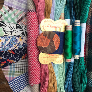 Linen, Tweed & vintage silk set #14