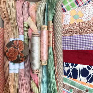 Linen, Tweed & vintage silk set #18