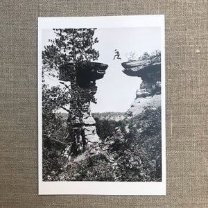 Leaping the chasm at Stand Rock, Wisconsin Dells 1887