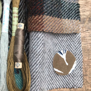 Linen, Tweed & vintage silk set