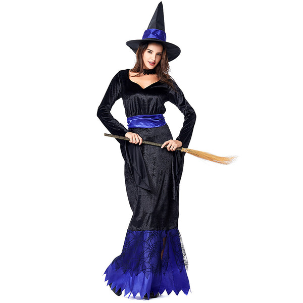 Blue Black Maxi Dress Witch Cosplay Costume Halloween/Stage Performance/Party