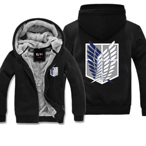 Anime Attack On Titan Scout Regiment Winter Warm Zipper Coat Hooded Jacket