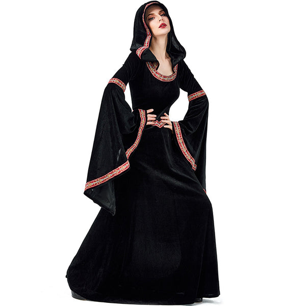 New European Vintage Court Black Vampire Witch Costume Halloween/Stage Performance/Party