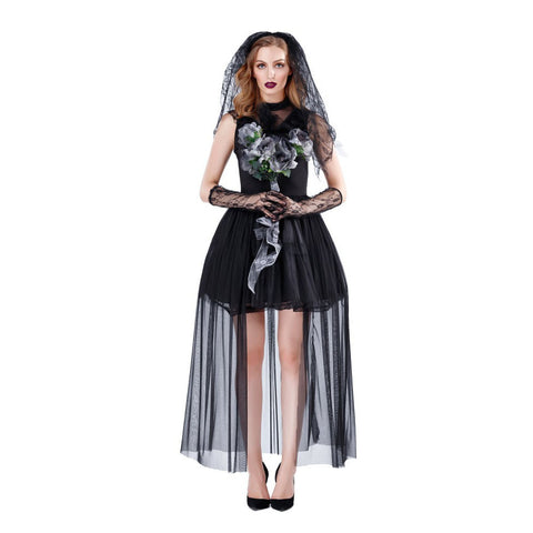 Black Ghost Bride Halloween Cosplay Costume Dress Adults Women
