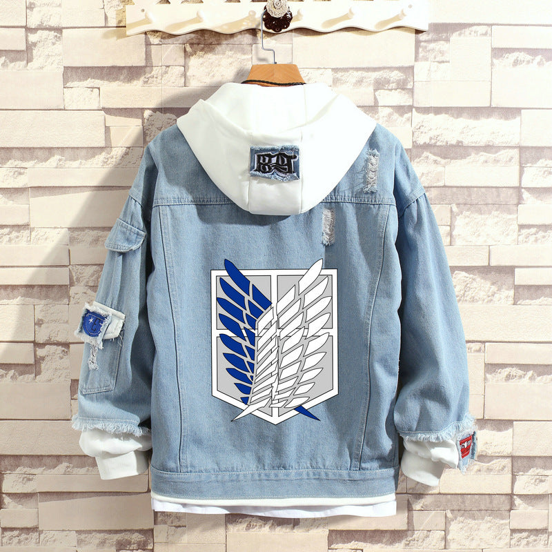 Anime Attack On Titan Jean Jacket Fake Two Pieces Hooded  Demin Coat