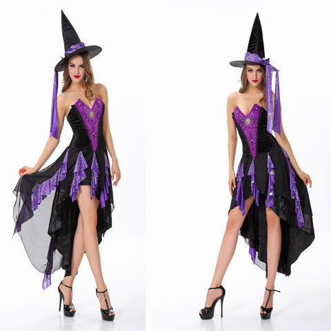 Sexy Tube Purple Swallowtail Witch Costume Halloween/Stage Performance/Party