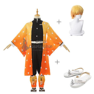 Anime Demon Slayer / Kimetsu no Yaiba Zenitsu Agatsuma Cosplay Costume With Wigs And Shoes