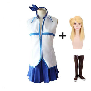 Fairy Tail Lucy Heartfilia Cosplay Costume Uniform Full Set With Boots and Wigs