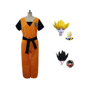 Anime Dragon Ball Adults Son Goku Yellow Cosplay Costume Suit With Wigs