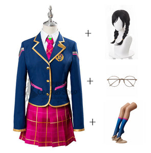 Overwatch D.Va Hana Song School Cosplay Costume Uniform Full Set With Wigs