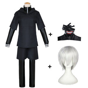 Anime Tokyo Ghoul Kaneki Ken Cosplay Costume Full Set With Props and Wigs