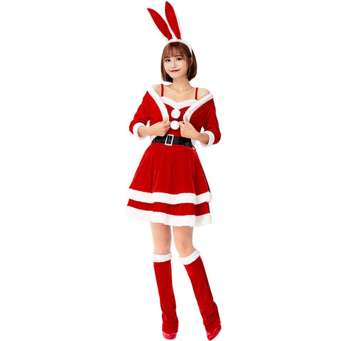 2019 Christmas Party Red Bunny Costume Dress