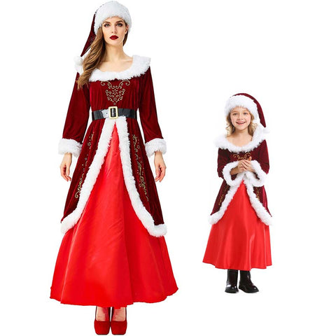 2019 Mommy and Me Christmas Santa Matching Costume Dress Christmas Party Mrs. Claus Costume Dress