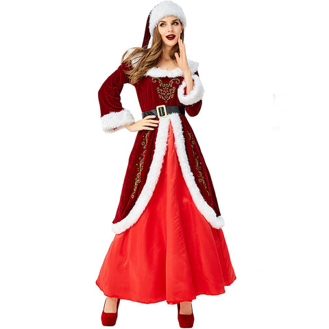 2019 Deluex Christmas Santa Costumes Vintage Floor Length Dress with Santa Hat for Women