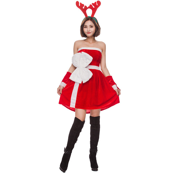 2019 New Christmas Reindeer Costume Christmas Party Reindeer Red Dress