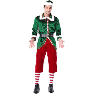 2019 New Men Christmas Elf Costume Christmas Elf Green Outfit