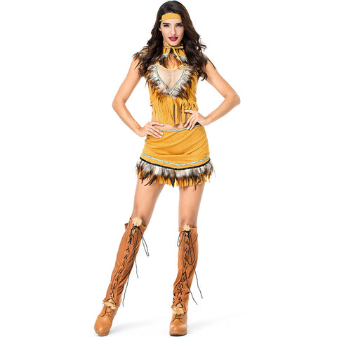 Women Native American Princess Warrior Costume 5 pcs Set For Halloween Party Performance