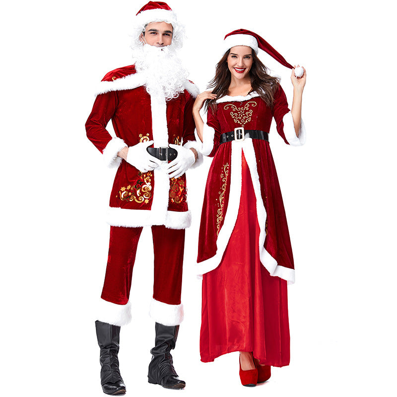 2019 New Couple Matching Christmas Santa Costume Full Set Deluxe Version
