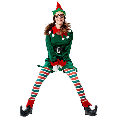 2019 New Women Christmas Elf Costume Dress Full Set With Hat