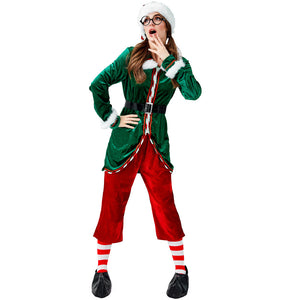 2019 New Women Christmas Holiday Party Elf Costume With Hat and Socks