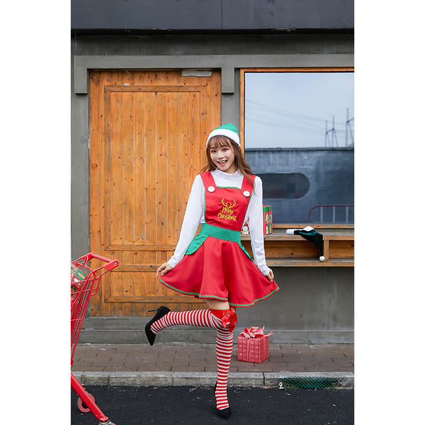 2019 New Women Girls Christmas Maid Costume Dress Full Set