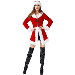 2019 New Women Sexy Christmas Party Santa Costume Dress