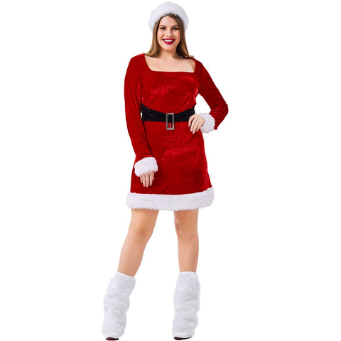 2019 Plus Size Christmas Women Santa Costume Dress With Hat