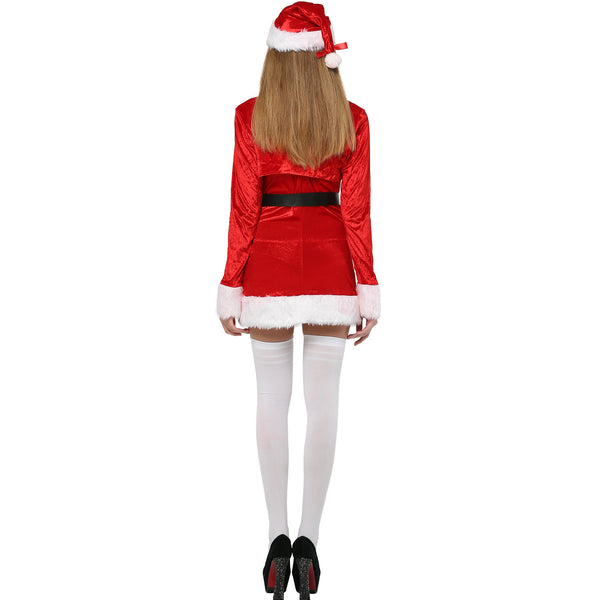 2020 Christmas Adults Women Santa Claus Cosplay Dress With Hat