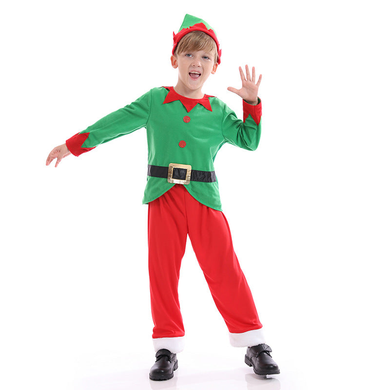 2020 Christmas Kids Boys Green Elf Costume Suit Full Set With Hat