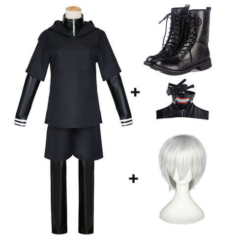 Anime Tokyo Ghoul Kaneki Ken Cosplay Costume Full Set With Props  Wigs and Boots