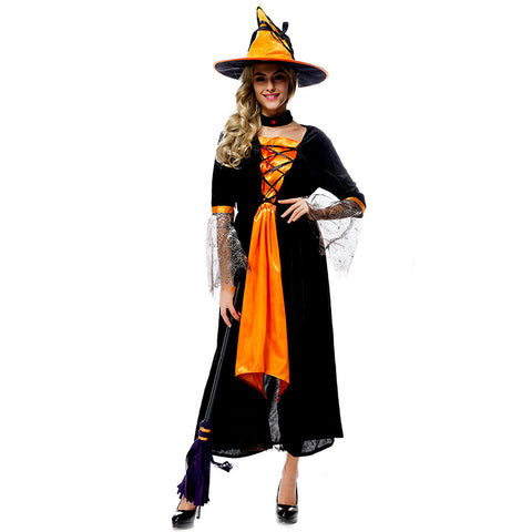Orange Black Spider Net Witch Cosplay Costume Halloween/Stage Performance/Party