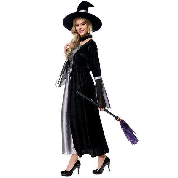Black Mesh Spider Printed Maxi Dress Witch Costume Halloween/Stage Performance/Party