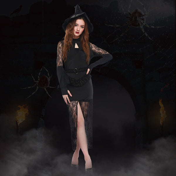 High Slit Lace Sexy Slim Witch Costume Halloween/Stage Performance/Party