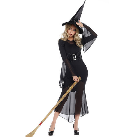 Sexy Black Muslin Witch Cosplay Costume Halloween & Stage Performance & Party