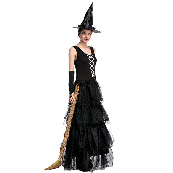 Black Sleeveless Pouf Cake Witch Costume Halloween/Stage Performance/Party