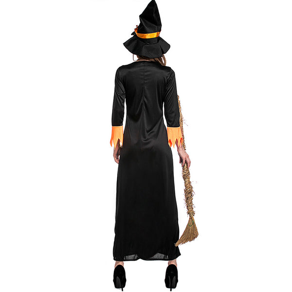 Orange Maxi Dress Witch Cosplay Costume Halloween & Stage Performance & Party