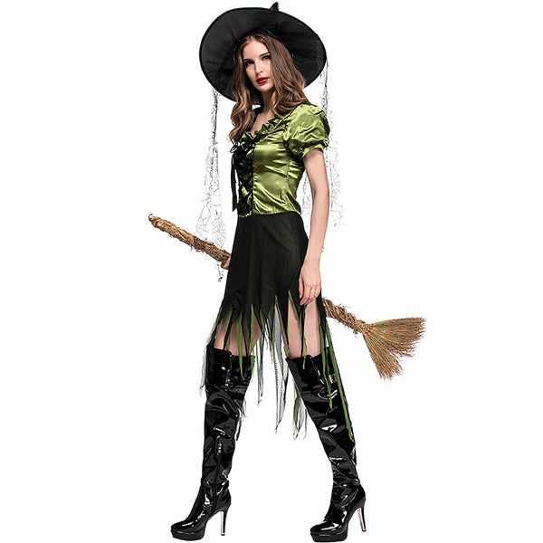 Green Irregular Dress Witch Cosplay Costume Halloween/Stage Performance/Party