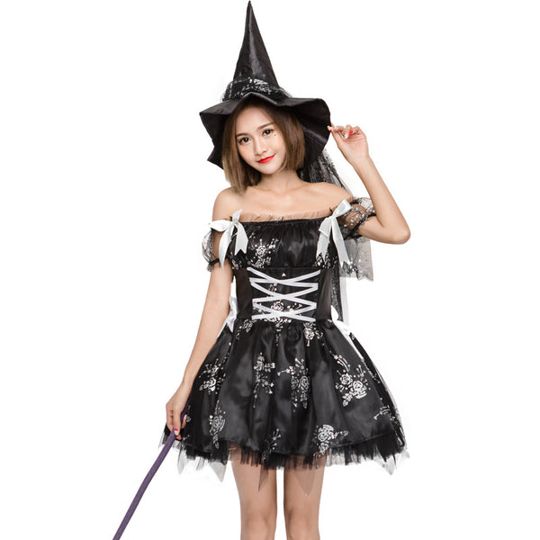 Black Rose Printed Pouf Witch Cosplay Costume Halloween/Stage Performance/Party
