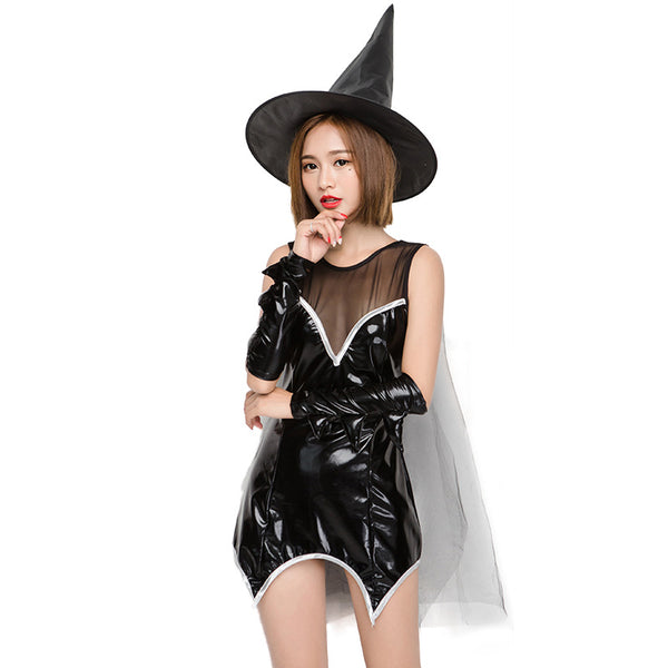Mesh Patent Leather Mini Dress Witch costume Halloween/Stage Performance/Party