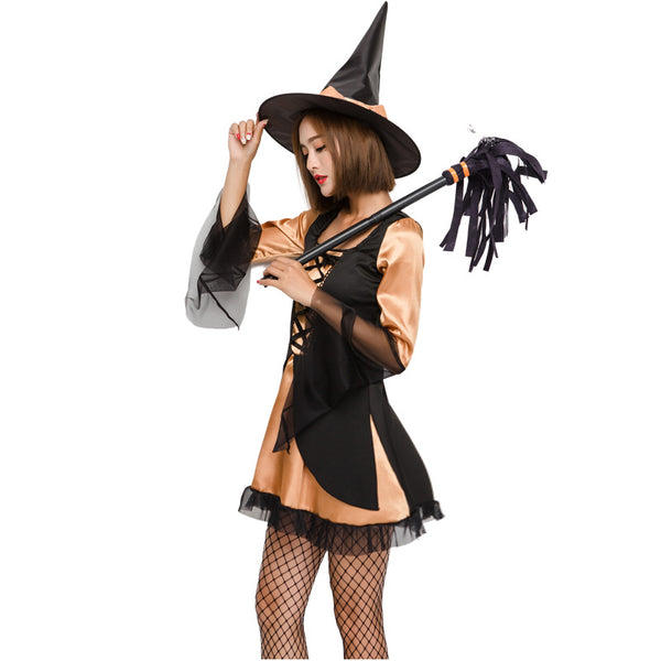 Orange Black Mesh Witch Cosplay Costume Halloween/Stage Performance/Party