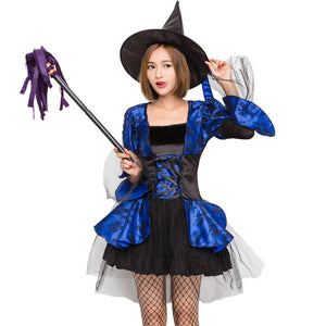 Deluxe Mesh Lace Blue & Black Witch costume Halloween/Stage Performance/Party