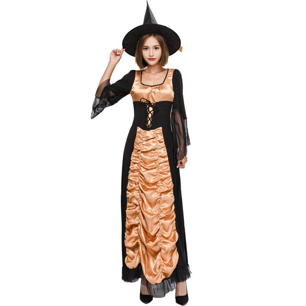 Black Muslin Maxi Dress Witch Costume Halloween/Stage Performance/Party