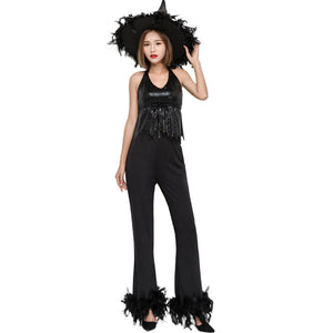 Black Cool Modern Witch Cosplay Costume Halloween/Stage Performance/Party