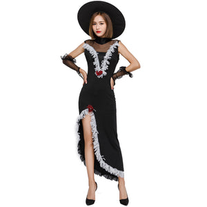 Black Lace Sexy Witch Cosplay Costume Halloween/Stage Performance/Party