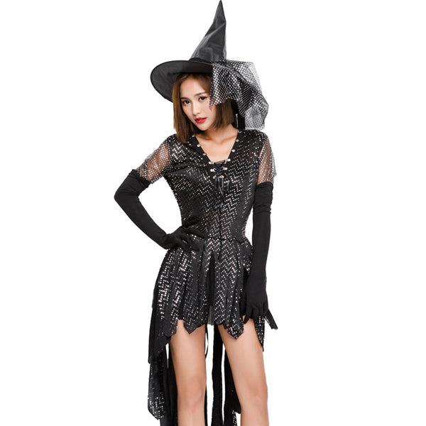Ice Silk Sequins Witch Cosplay Costume Halloween/Stage Performance Party